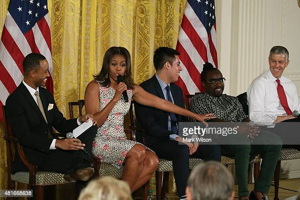 E News co anchor Terrence Jenkins first lady Michelle Obama student Manuel Contreras musical artist Wale and Education Secretary Arne Duncan...