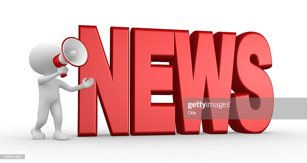 News concept and a megaphone : Stock Photo