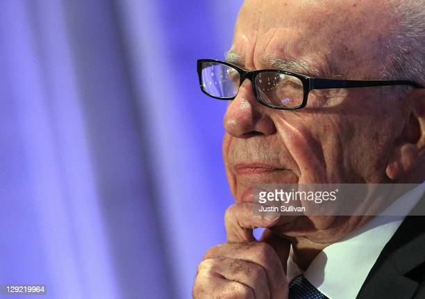 News Corp CEO Rupert Murdoch pauses as he delivers a keynote address at the National Summit on Education Reform on October 14 2011 in San Francisco...