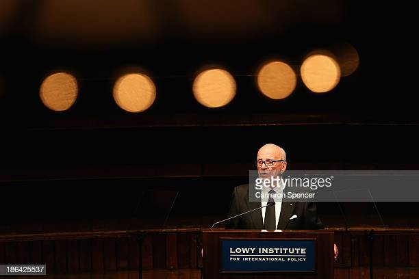 News Corp executive chairman Rupert Murdoch talks on October 31 2013 in Sydney Australia Murdoch delivered the 10th annual lecture at the Lowy...
