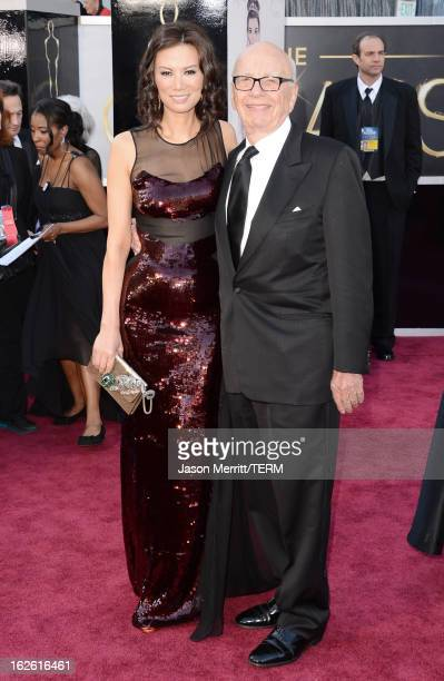 News Corporation Chairman and CEO Rupert Murdoch and wife Wendi Murdoch arrive at the Oscars at Hollywood Highland Center on February 24 2013 in...