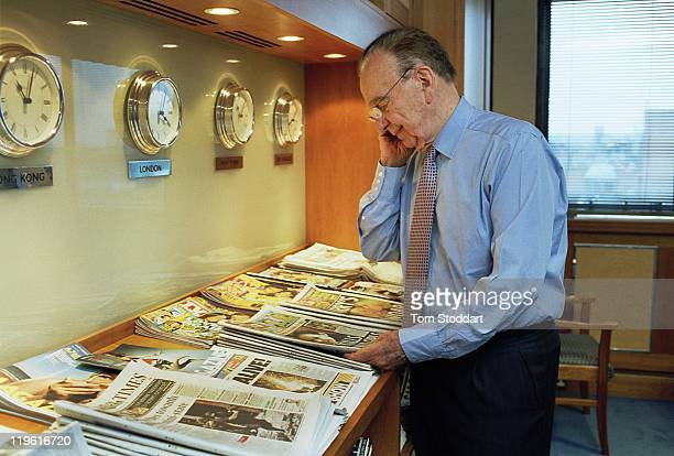 News Corporation Chairman and CEO Rupert Murdoch photographed in his office at News International in Wapping, London, before his interview with...