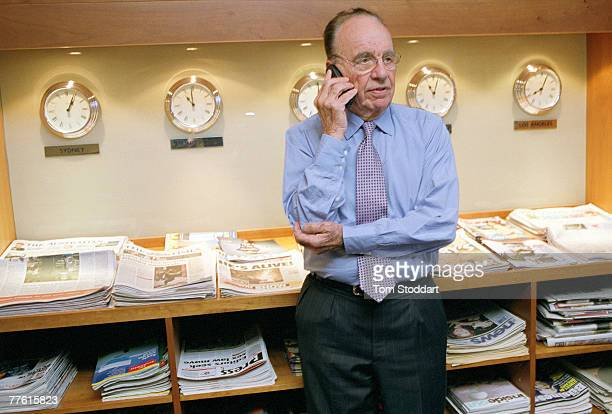 News Corporation Chairman and CEO Rupert Murdoch photographedon the phone in his office at News International in Wapping London