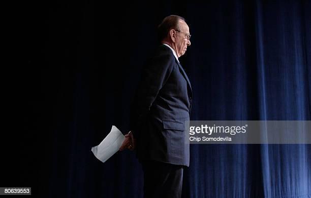News Corportation Chairman Rupert Murdoch prepares to address the dedication ceremony of the Newseum April 11 2008 in Washington DC The...