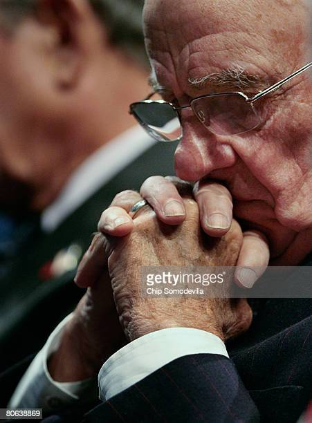 News Corportation Chairman Rupert Murdoch waits to address the dedication ceremony of the Newseum April 11, 2008 in Washington, DC. The...