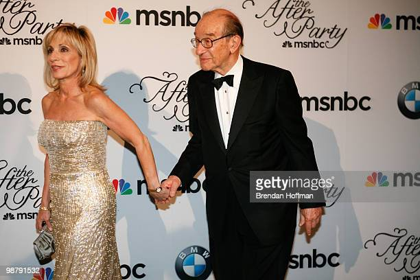 News correpsondent Andrea Mitchell arrives with her husband former Federal Reserve chairman Alan Greenspan at the MSNBC Afterparty following the...