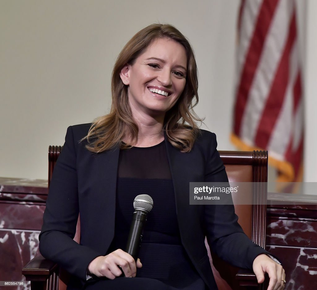 News Correspondent and MSNBC Anchor Katy Tur is interviewed by NPR's Robin Young about Tur's new book 'Unbelievable: My Front Row-Seat to the Craziest Campaign in American History' at the Edward M. Kennedy Institute for the United States Senate on October 17, 2017 in Boston, Massachusetts. 'Unbelievable' details Tur's 500 days on the campaign trail where she filed more than 3,800 live television reports and was singled out by Donald Trump for her reports after she repeatedly fact checked his comments.