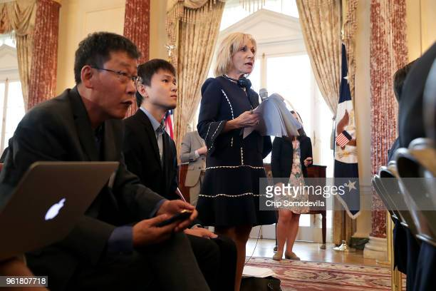 News correspondent Andrea Mitchell asks questions of US Secretary of State Mike Pompeo and Chinese Foreign Minister Wang Yi during a news conference...