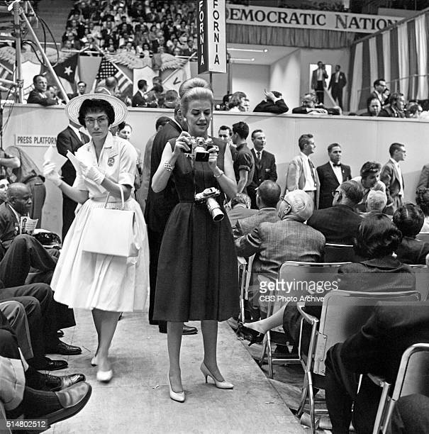 News reports from the 1960 Democratic National Convention, Los Angeles, California CBS News correspondent, Betty Furness, takes some still photos on...