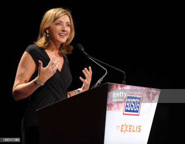 News correspondent Chris Jansing speaks onstage at the 50th USO Armed Forces gala Gold Medal dinner at The New York Marriott Marquis on December 7...