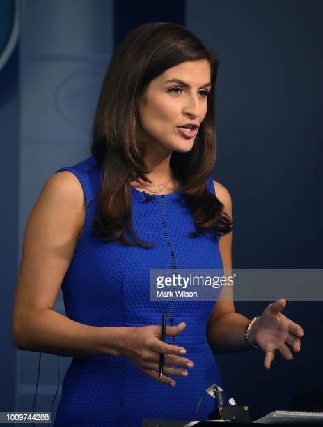 News correspondent Kaitlan Collins reports from the briefing room at the White House on August 2 2018 in Washington DC The administration's top...