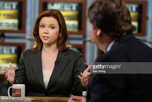 NBC News correspondent Kelly O'Donnell speaks as moderator Tim Russert looks on during a taping of 'Meet the Press' at the NBC Studios June 8 2008 in...