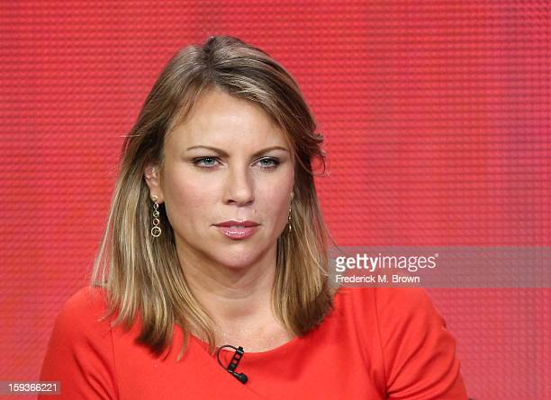 News correspondent Lara Logan of 60 Minutes Sports speaks onstage during the Showtime portion of the 2013 Winter TCA Tour at Langham Hotel on January...