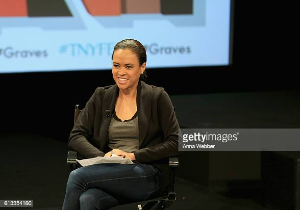 News correspondent Linsey Davis speaks onstage during The New Yorker Festival 2016 at an exclusive screening of EPIX original series 'Graves'...