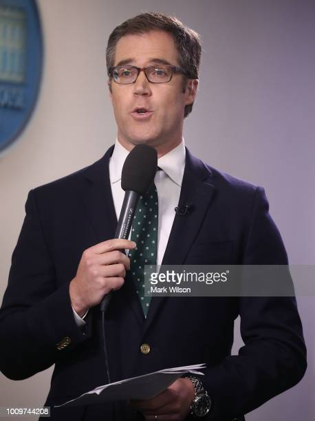 News correspondent Peter Alexander reports from the briefing room at the White House on August 2 2018 in Washington DC The administration's top...