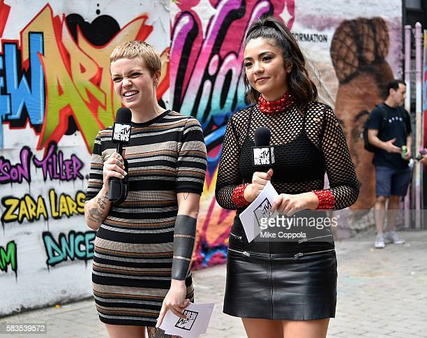 News Correspondents Meredith Graves and Gaby Wilson speak at the mural unveiled announcing the 2016 MTV Video Music Awards nominations in First...