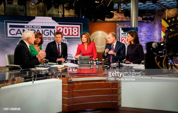News coverage of Midterm Election 2018 Pictured L to R Bob Schieffer Gayle King Jeff Glor Norah O'Donnell John Dickerson and Bianna Golodryga