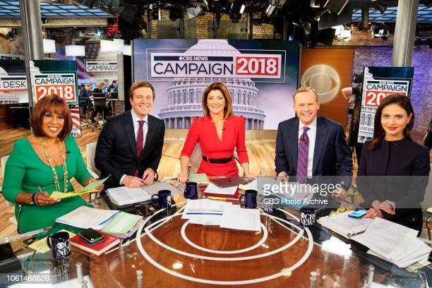 News coverage of Midterm Election 2018 Pictured L to R Gayle King Jeff Glor Norah O'Donnell John Dickerson and Bianna Golodryga
