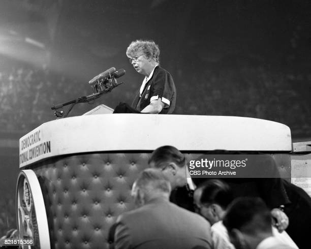 News coverage of the Democratic National Convention in Chicago Illinois July 25 1952 Pictured is former First Lady Eleanor Roosevelt giving a speech