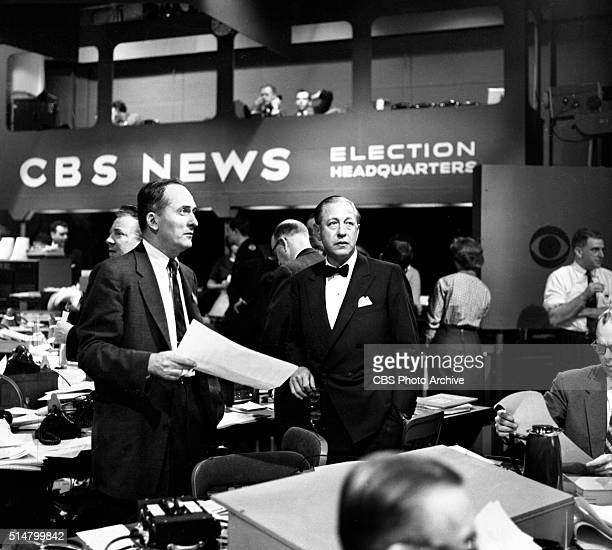 News coverage of the United States presidential election on Tuesday November 6 1956 Reporting the returns from CBS election headquarters Grand...