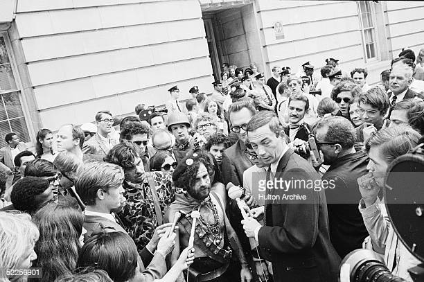 News crews interview American activist Jerry Rubin outside the 1968 Democratic National Convention Chicago Illinois August 1968 Rubin who founded the...