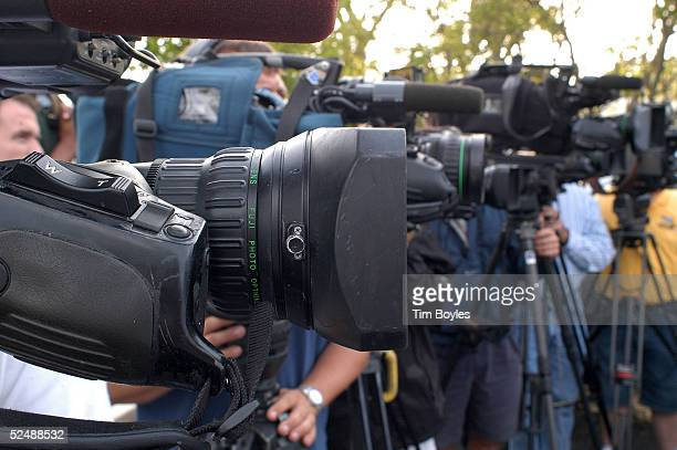 News crews with television cameras record a press conference by Michael Schiavo's attorney Geroge Felos near his office March 28 2005 in Dunedin...