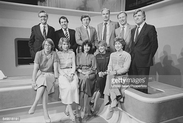 BBC News Election team pictured together at BBC Television Centre in London on 31st May 1983 Back row from left to right John Cole Donald MacCormick...