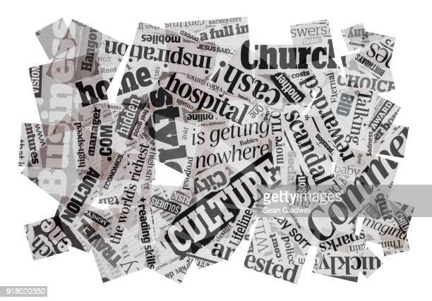 news headlines composition - printout stock pictures, royalty-free photos & images