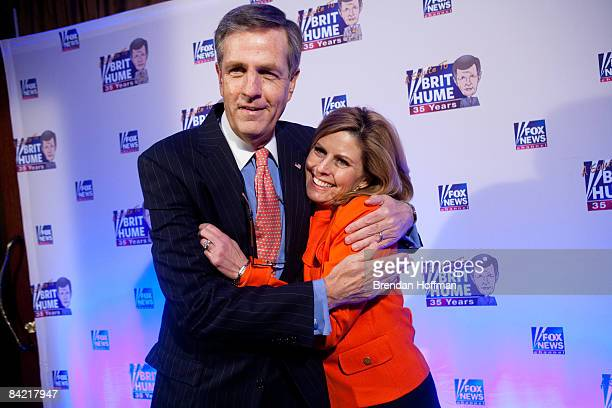 News host Brit Hume poses with Nina Easton Washington Bureau Chief for Fortune Magazine on the red carpet upon arrival at an event in his honor on...