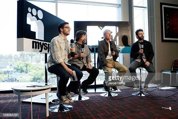 MTV News host Josh Horowitz director Steve Lisberger writer Bruce Boxleitner and actor Michael Sheen in the MySpace MTV Tower During ComicCon 2010...