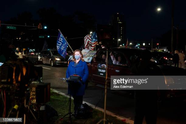 News Journalist Kelly O'Donnell delivers a news report as supporters of U.S. President Donald Trump rally outside Walter Reed National Military...