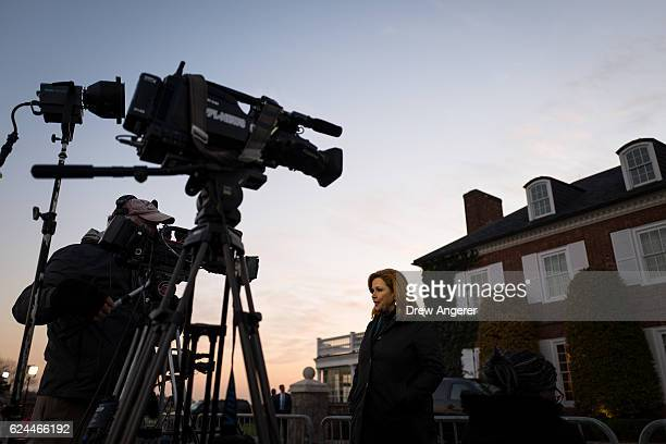 News journalist Kelly O'Donnell reports at Trump International Golf Club, November 19, 2016 in Bedminster Township, New Jersey. Trump and his...