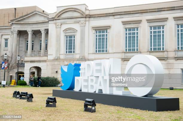 News logo and Twitter Inc signage is displayed outside of the Charleston Gaillard Center ahead of the Democratic presidential debate in Charleston...