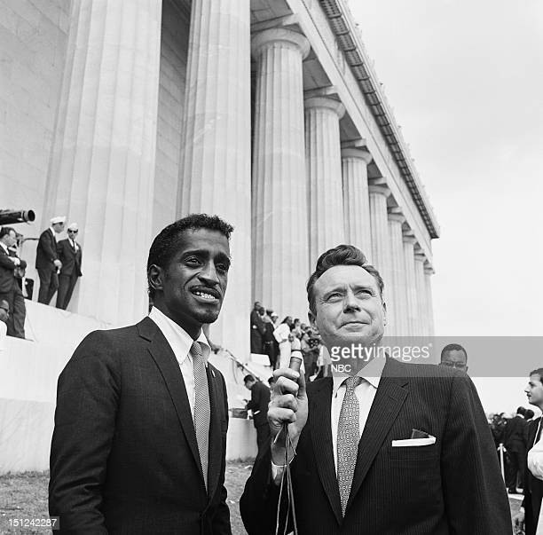 NBC News MARCH ON WASHINGTON FOR JOBS AND FREEDOM 1968 Pictured Actor Sammy Davis Jr NBC News' Merrill 'Red' Mueller during an interview at Lincoln...