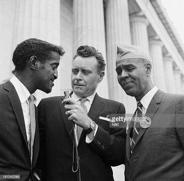 NBC News MARCH ON WASHINGTON FOR JOBS AND FREEDOM 1968 Pictured Actor Sammy Davis Jr NBC News' Merrill 'Red' Mueller NAACP President Roy Wilkins...