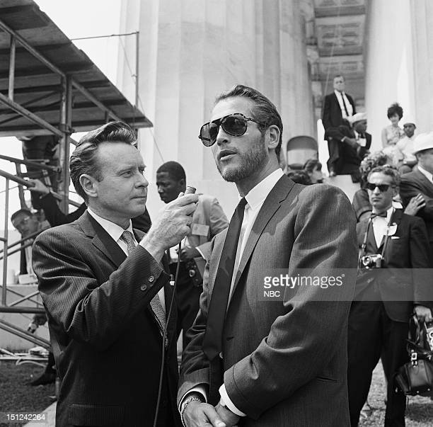 NBC News MARCH ON WASHINGTON FOR JOBS AND FREEDOM 1968 Pictured NBC News' Merrill 'Red' Mueller actor Paul Newman during an interview at Lincoln...
