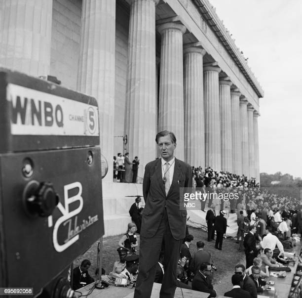 NBC News MARCH ON WASHINGTON FOR JOBS AND FREEDOM 1968 Pictured NBC News' Ray Scherer at the Lincoln Memorial during the March on Washington for Jobs...