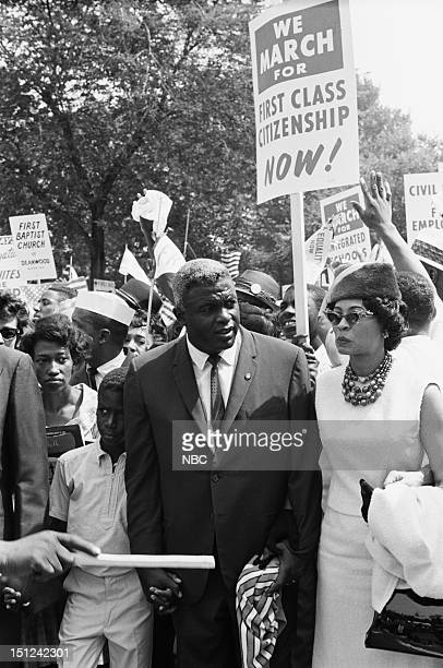 News -- MARCH ON WASHINGTON FOR JOBS AND FREEDOM 1968 -- Pictured: Son David Robinson, baseball player Jackie Robinson, wife Rachel Robinson during...