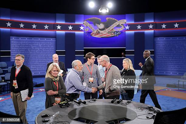 News' Martha Raddatz looks at the desk from where she will comoderate Sunday night's debate between Republican presidential nominee Donald Trump and...
