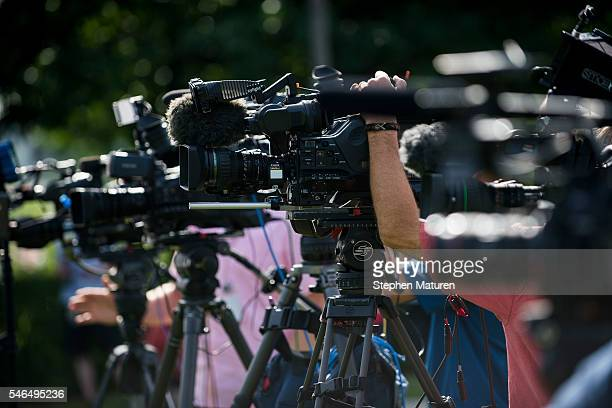 TV news media set up cameras for a press conference with the family and attorney of Philando Castile on July 12 2016 in St Paul Minnesota Judge...