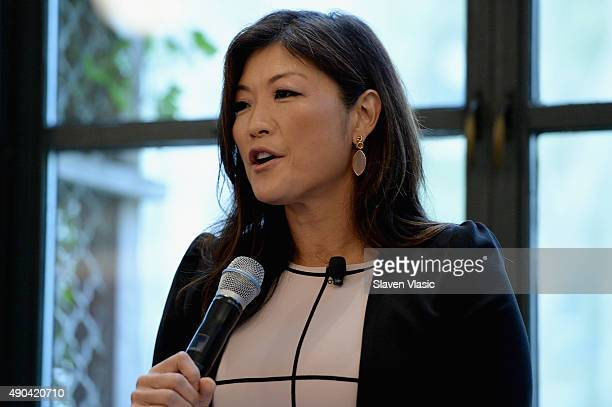 News Nightline Host Juju Chang speaks onstage at the ABC Leadership Breakfast panel during Advertising Week 2015 AWXII at the Bryant Park Grill on...