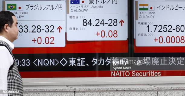 News of Takata Corp's filing for bankruptcy protection is displayed on a financial data board on a street in Tokyo on June 26 2017 Tokyo Stock...