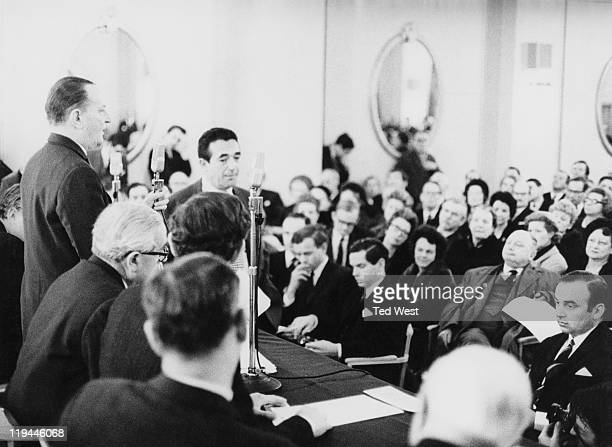 News Of The World chairman William Carr addresses shareholders at a meeting at the Connaught Rooms London as rival publishers Robert Maxwell and...