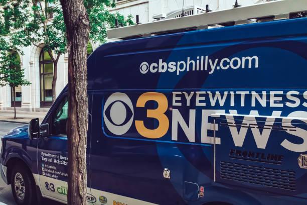 CBS TV news outside broadcasting van in Philadelphia