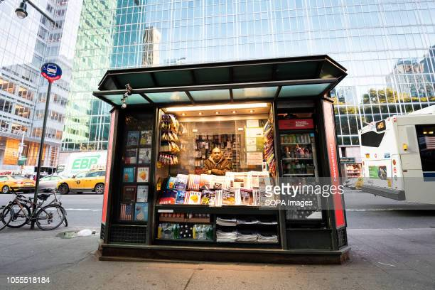 News papers containing fake headlines and books containing fake articles are seen displayed on a news stand at the times square. The...