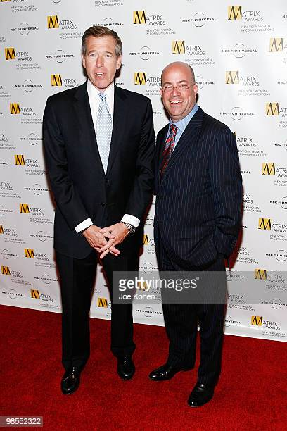 News personality Brian Williams and president and CEO of NBC Universal Jeff Zucker attend the 2010 Matrix Awards presented by New York Women in...