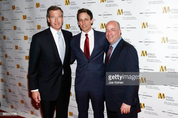 News personality Brian Williams comedian Seth Meyers and president and CEO of NBC Universal Jeff Zucker attend the 2010 Matrix Awards presented by...