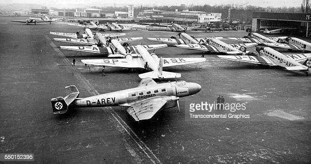 News photograph of a Nazi airport with a number of parked planes Dusseldorf Germany 1938
