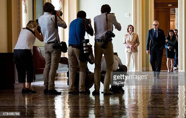 News photographers gather in the Ohio Clock Corridor to photograph House Minority Leader Nancy Pelosi, D-Calif., and Senate Minority Leader Harry...