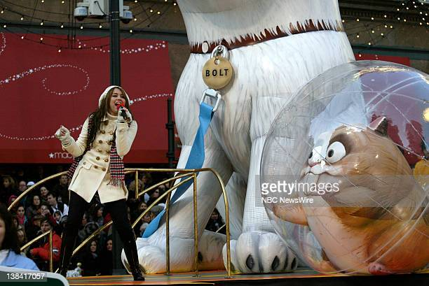 Singer/Actress Miley Cyrus performs at the Macy's Thanksgiving Day Parade in Herald Square on November 28 2008